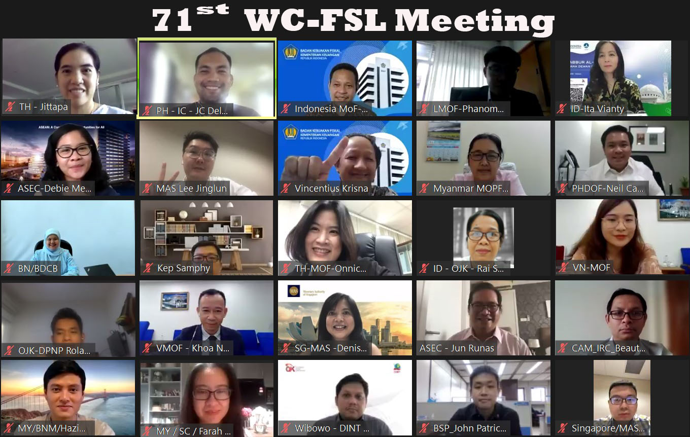 The 71st ASEAN Working Committee on Financial Services Liberalization, 5 July 2021, Video Conference